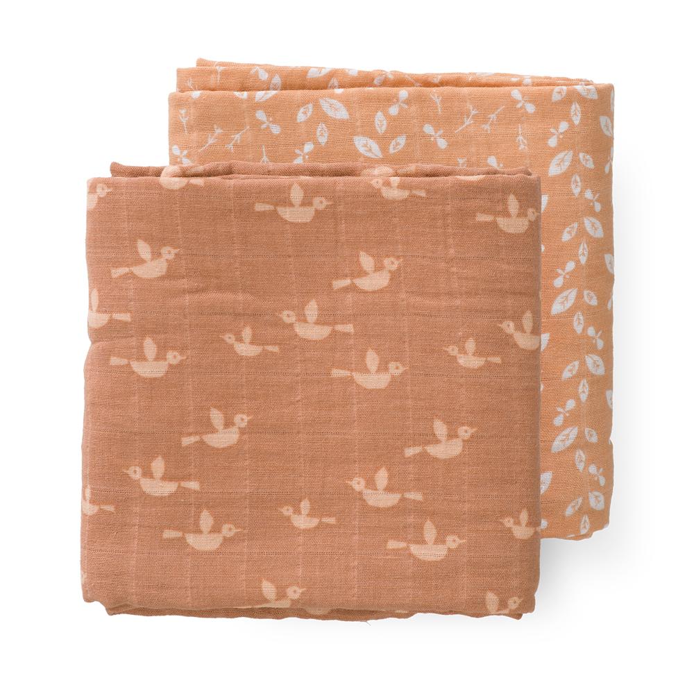 Fresk: Πάνες αγκαλιάς- μουσελίνες Birds από οργανικό βαμβάκι σετ 2τμχ 60*70