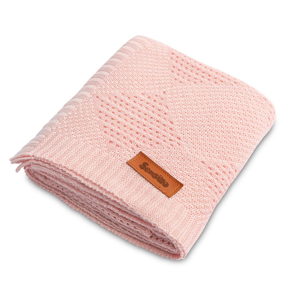 Kουβέρτα Bamboo <br> πλεκτή sensillo pink 100*80