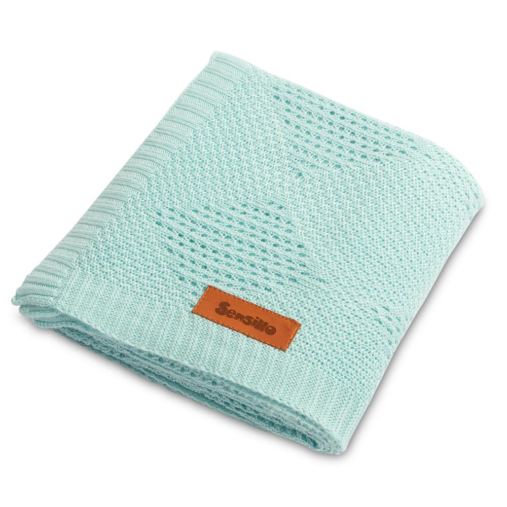 Kουβέρτα Bamboo <br> πλεκτή sensillo σιέλ 100*80