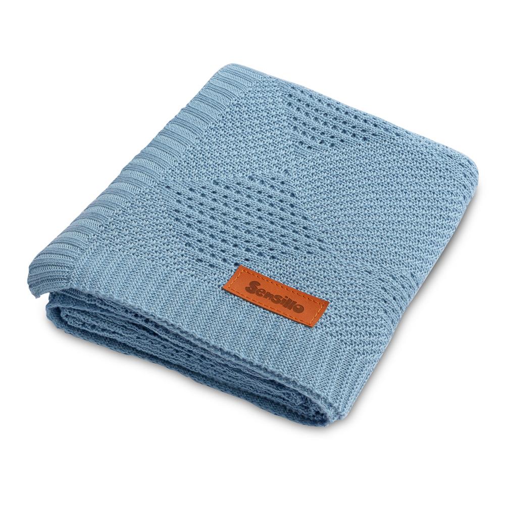Kουβέρτα Bamboo <br> πλεκτή sensillo blue 100*80