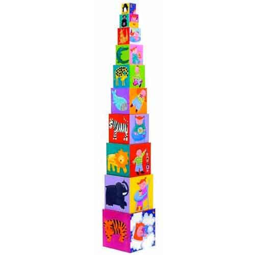 Djeco 10 Κύβοι στοίβαξης - αρίθμησης 'Ζωάκια στη σκάλα' 86εκ. ύψος