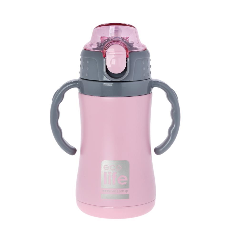Ανοξείδωτο ροζ παγουράκι θερμός 300ml, με εσωτερικό καλαμάκι & χερούλια