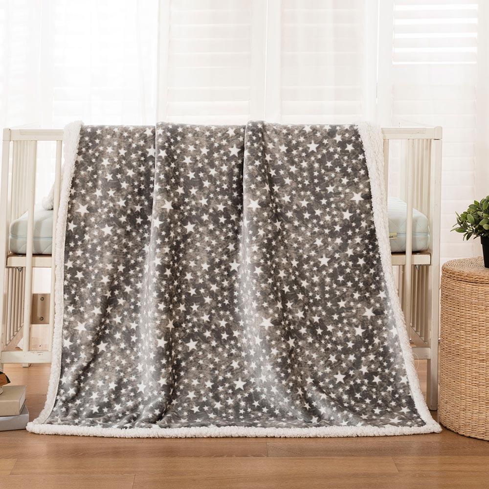 Βρεφική κουβέρτα γκρι με αστεράκια 110*140 BEAUTY HOME