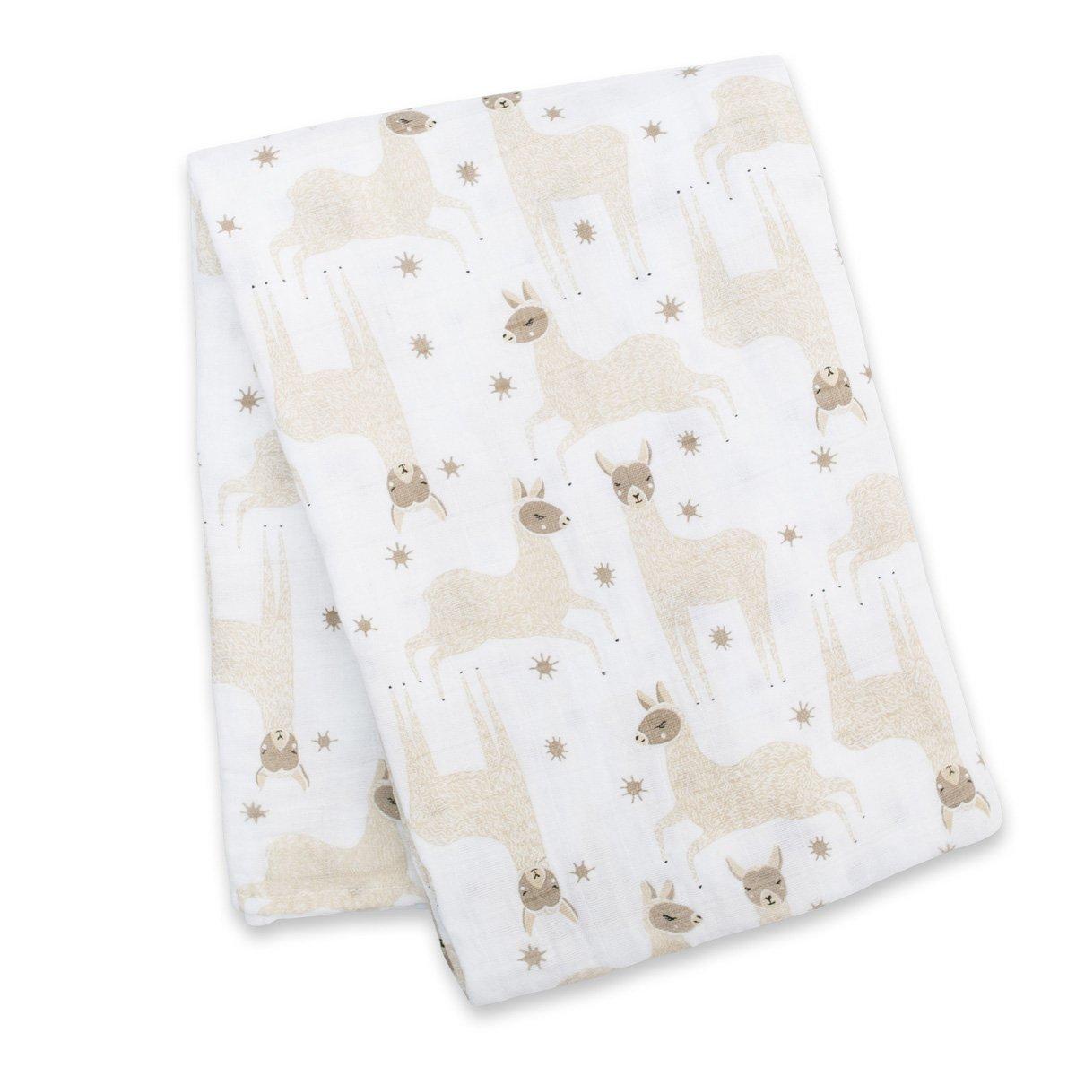 Lulujo Μουσελίνα 120*120 – Modern Llama Swaddling Blanket