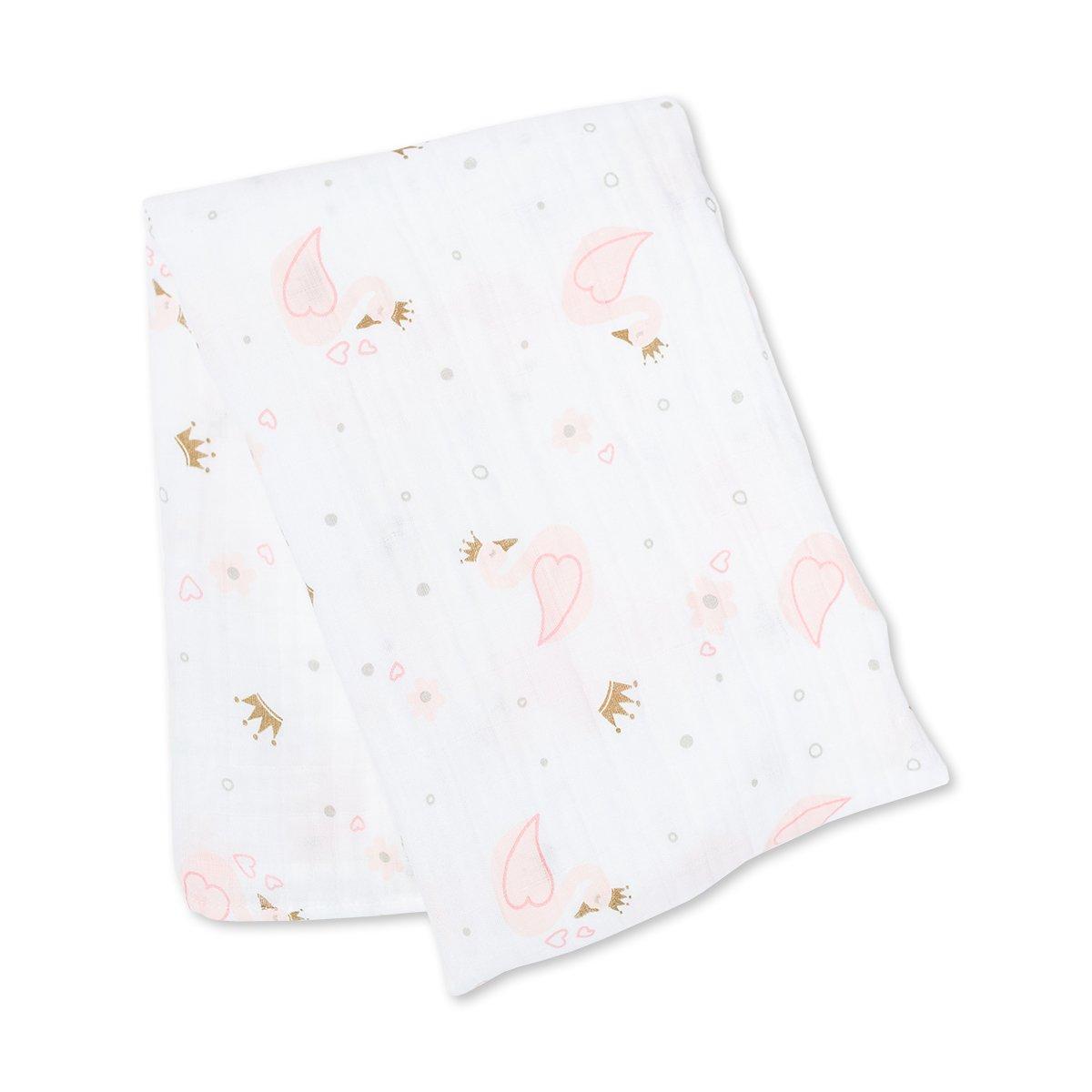 Lulujo Μουσελίνα 120*120 – Swan Swaddling Blanket