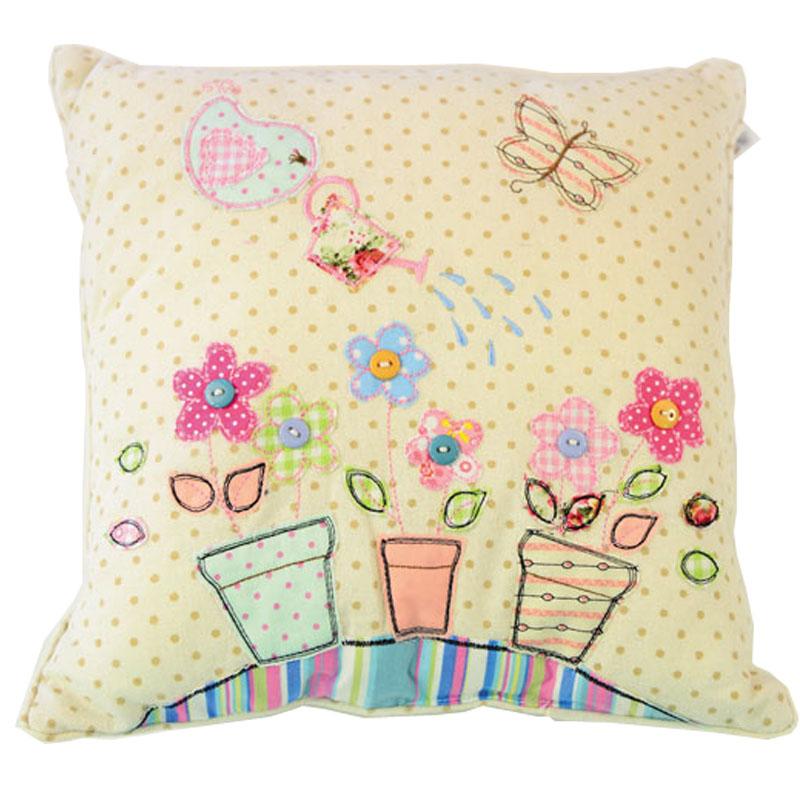 Διακοσμητικό μαξιλάρι λουλούδια κεντημένο