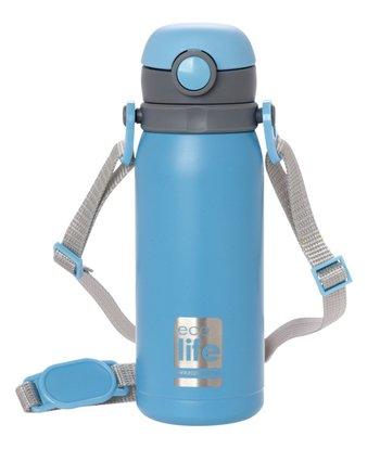 Ανοξείδωτο μπλε παγουράκι θερμός 450ml, με εσωτερικό καλαμάκι & ιμάντα μεταφοράς