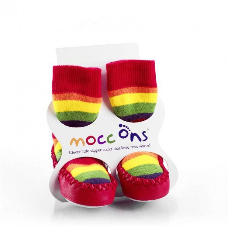 Καλτσοπαντοφλάκια Moccons Ουράνιο Τόξο 12-18 μηνών