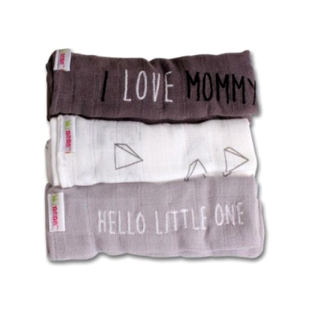 Minene Μουσελίνες Σετ των 3 (I love mommy) 3*70*70