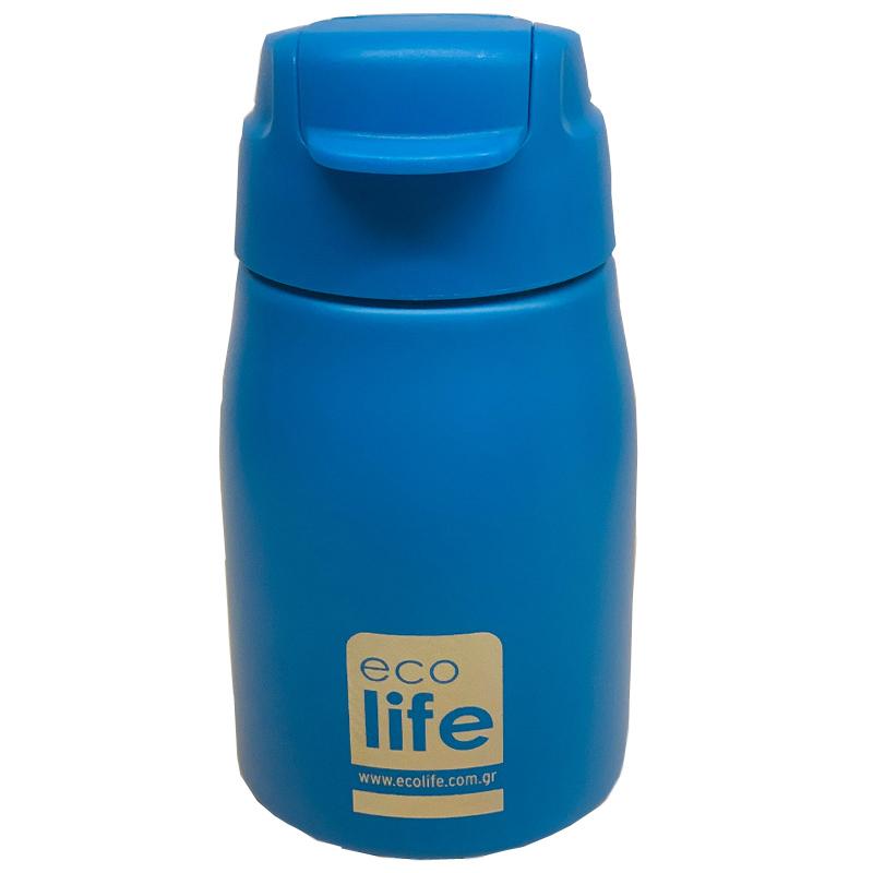 Ecolife Παγουράκι μπλε 400ml (με καλαμάκι)