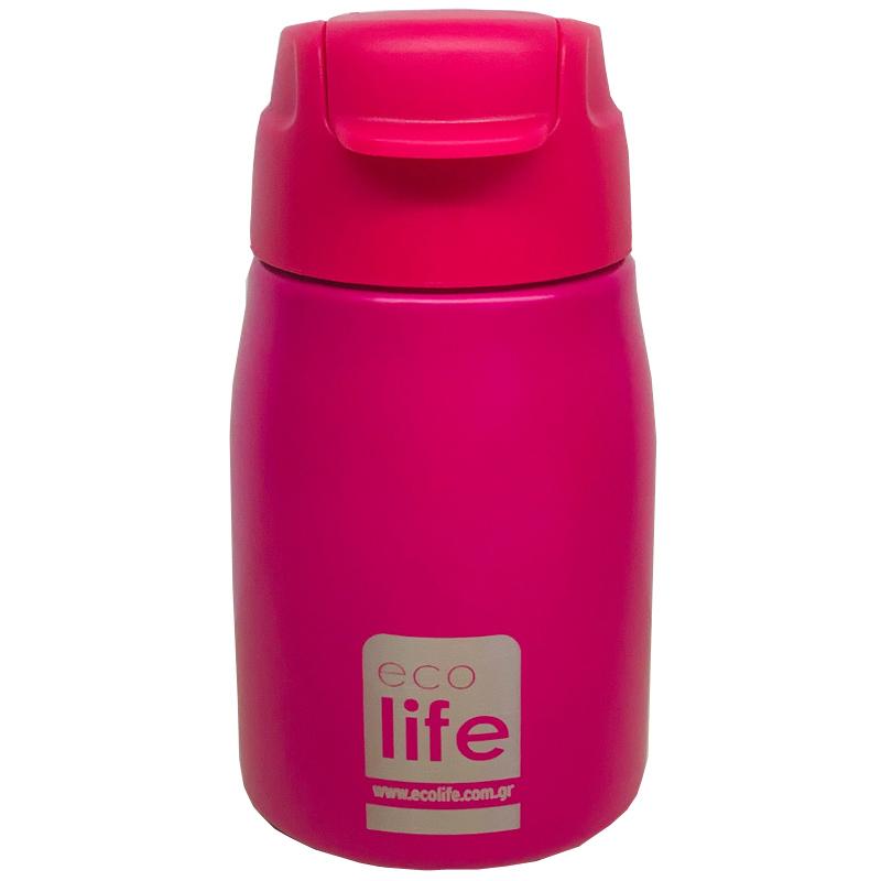 Ecolife Παγουράκι ροζ 400ml (με καλαμάκι)