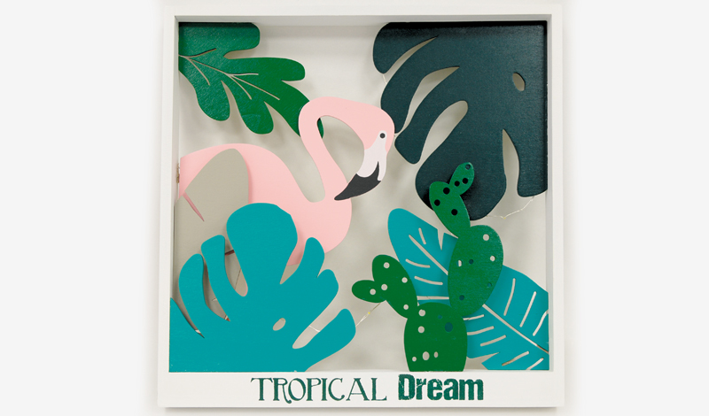 Πίνακας tropical φλαμίνγκο με led 30cm