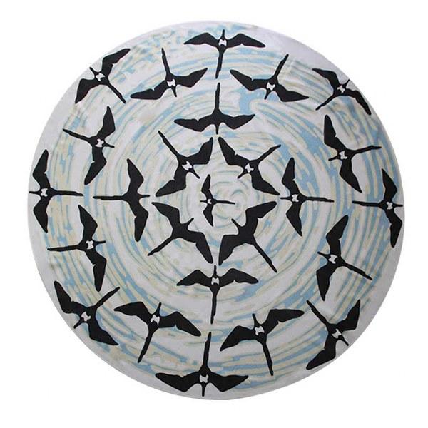 Πετσέτα στρογγυλή με χελιδόνια microfiber d=1,50m