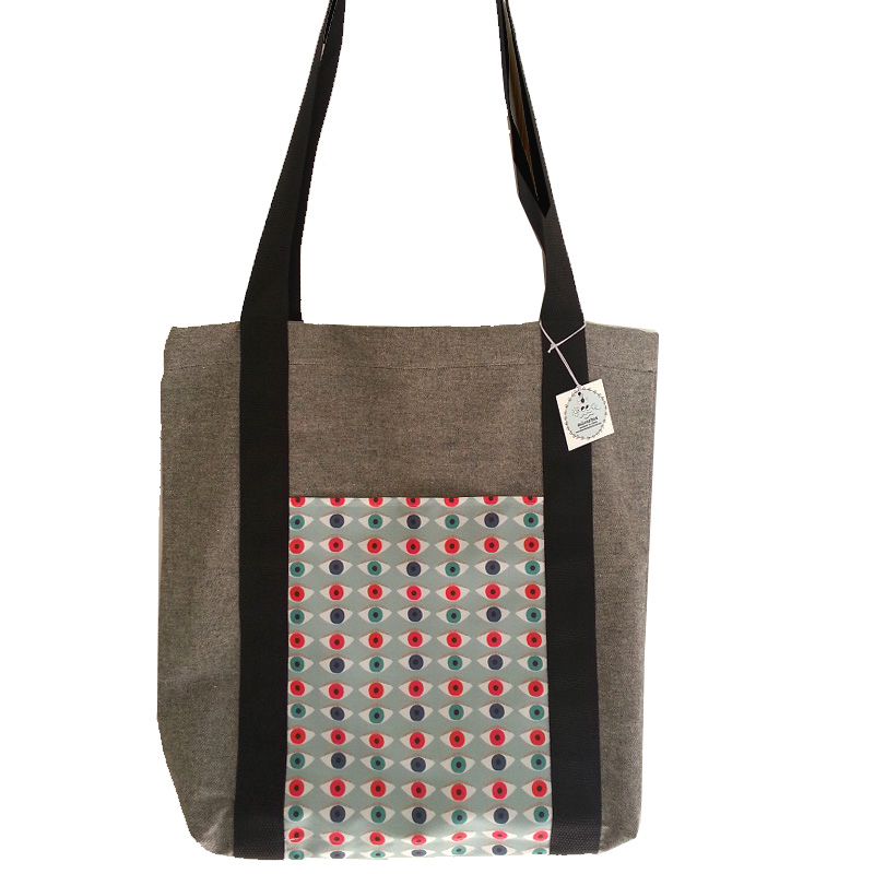 Τσάντα υφασμάτινη tote bag <br/> με μάτια