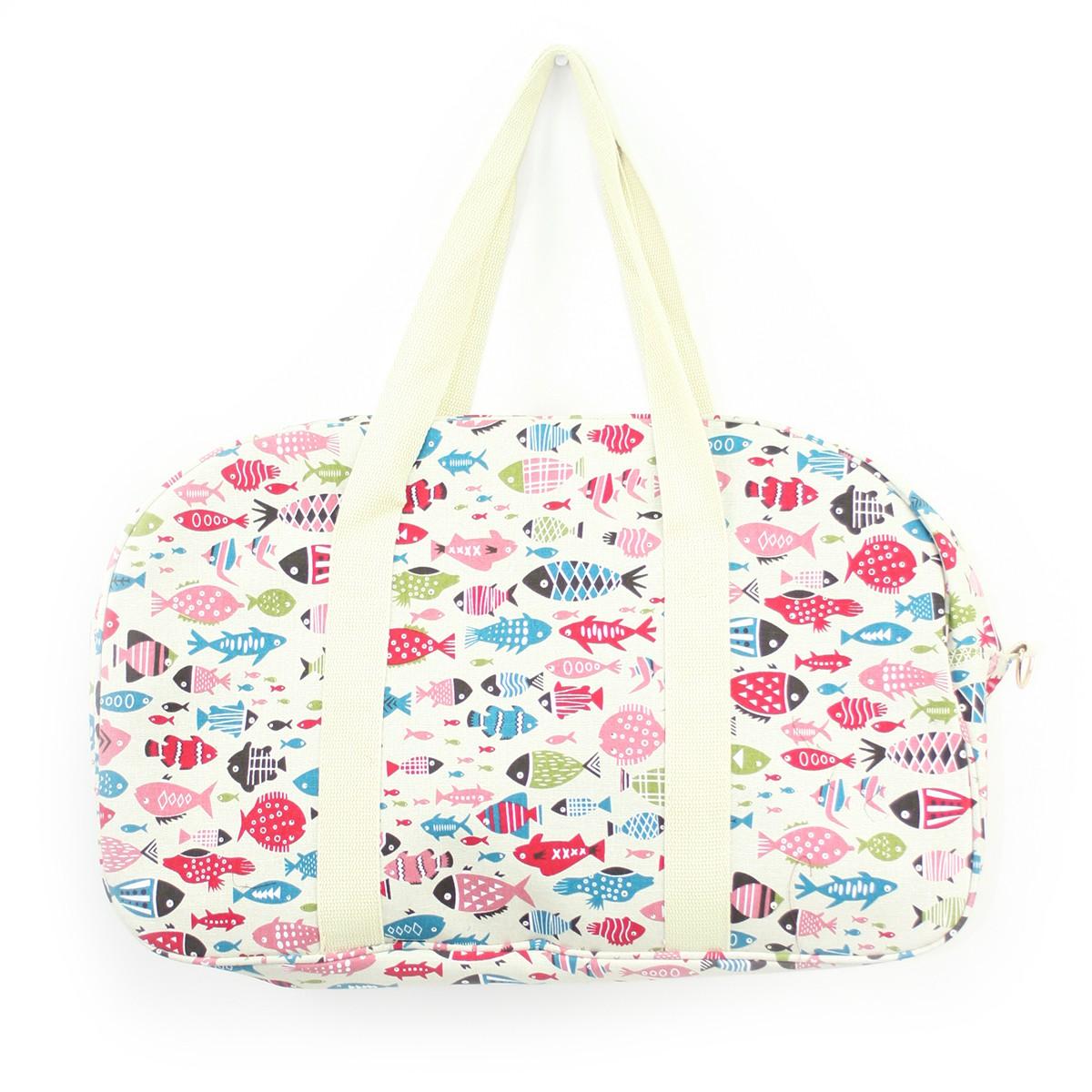 Τσάντα ταξιδιού με πολύχρωμα ψαράκια μεγάλη
