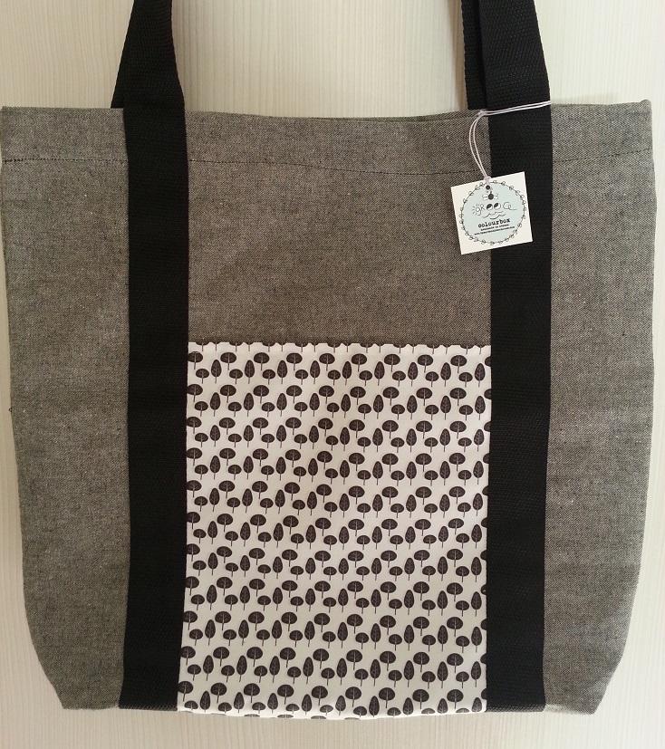Τσάντα υφασμάτινη tote bag με φύλλα διαστάσεων 44*41*9εκ.