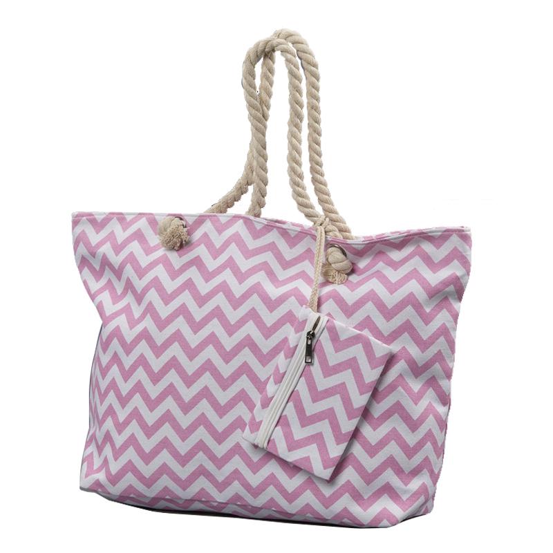 Υφασμάτινη Τσάντα ροζ & Πορτοφόλι Chevron