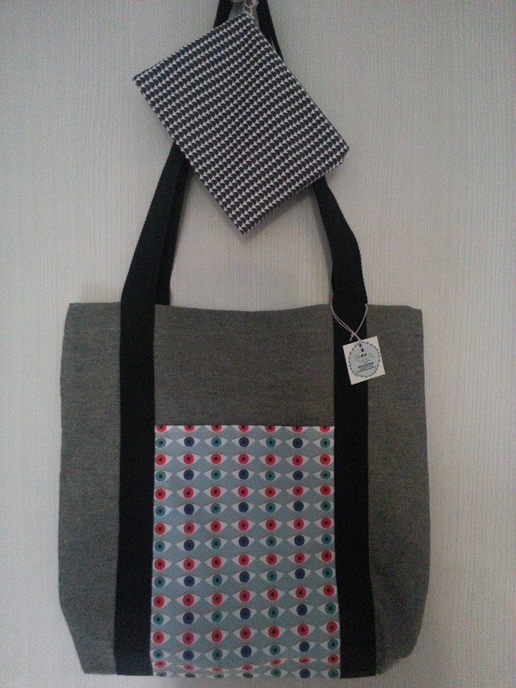 Σετ τσάντα υφασμάτινη tote bag με μάτια και ασορτί τσαντάκι με ημικύκλια
