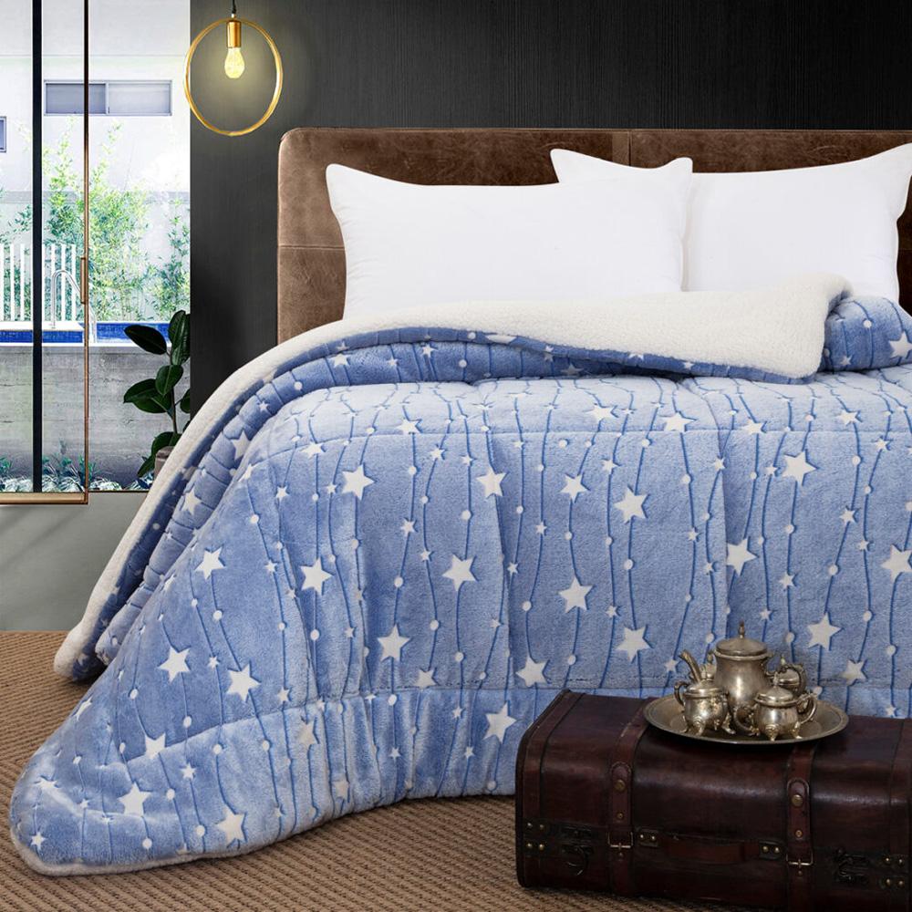 Κουβερτοπάπλωμα μονό φωσφοριζέ blue stars 160×220  BEAUTY HOME