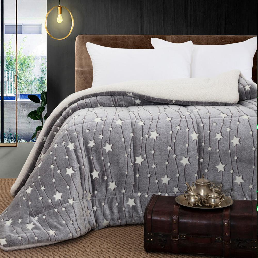 Κουβερτοπάπλωμα μονό φωσφοριζέ grey stars 160×220  BEAUTY HOME