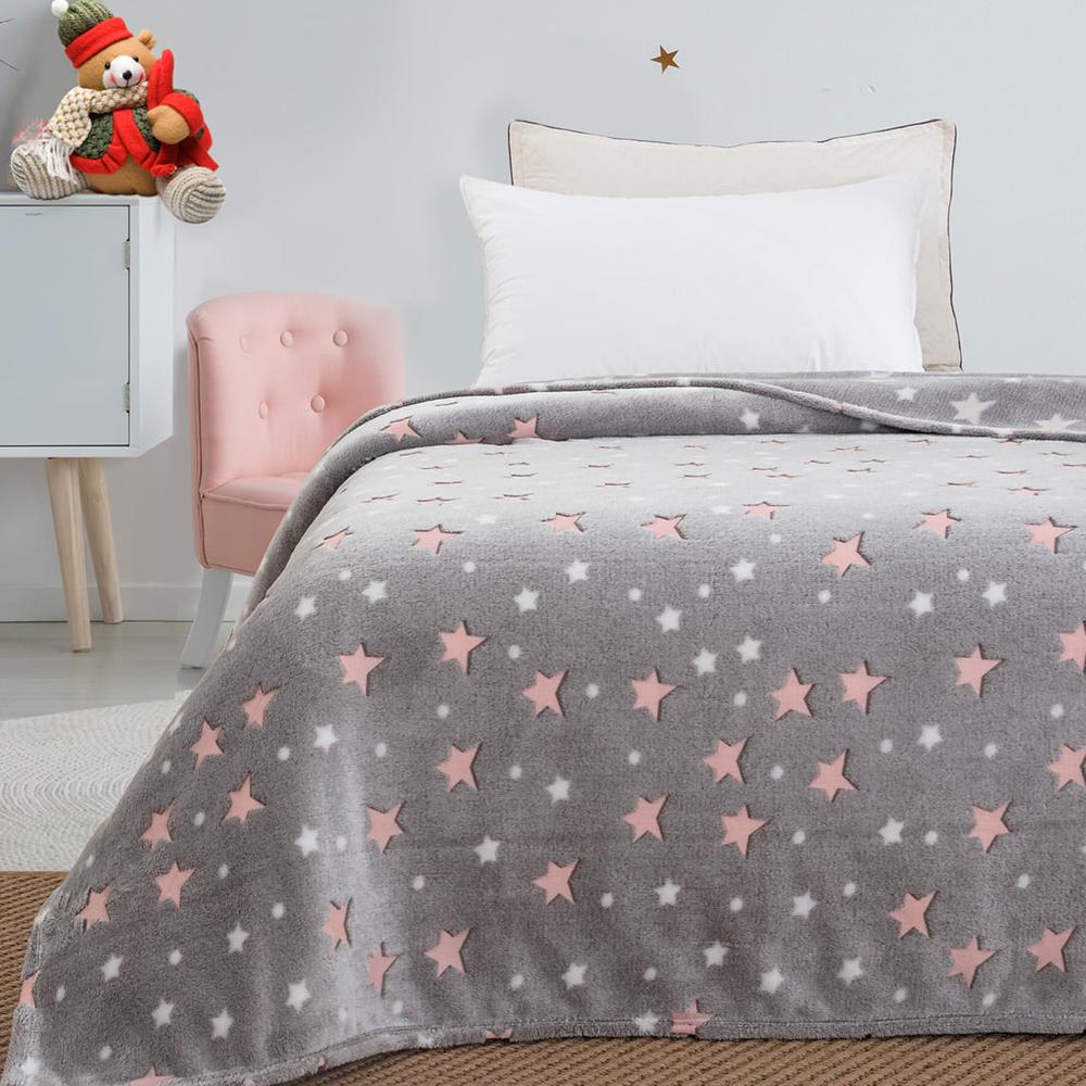 Παιδική κουβέρτα μονή φωσφορίζουσα rose stars 160×220  BEAUTY HOME