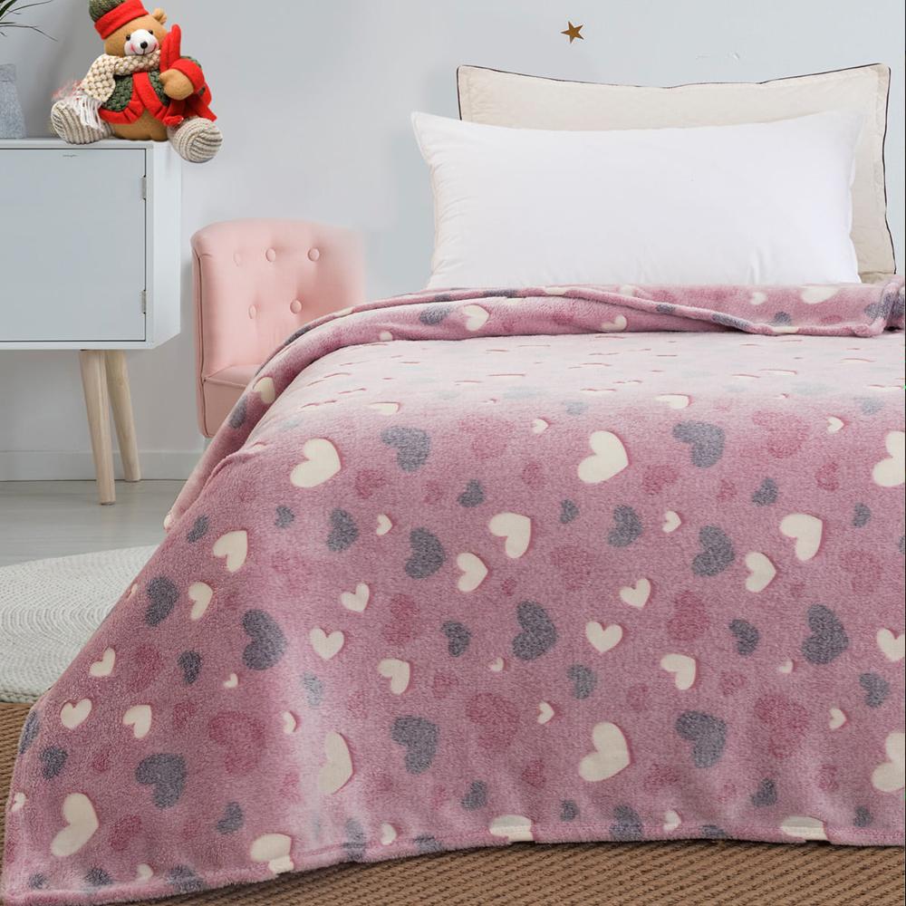 Παιδική κουβέρτα μονή φωσφορίζουσα  hearts 160×220 BEAUTY HOME