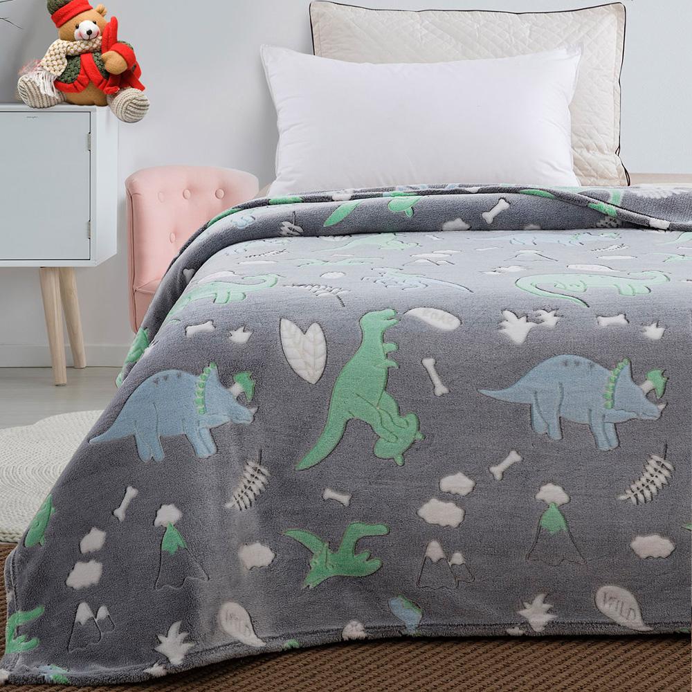 Παιδική κουβέρτα μονή φωσφορίζουσα dino 160×220  BEAUTY HOME