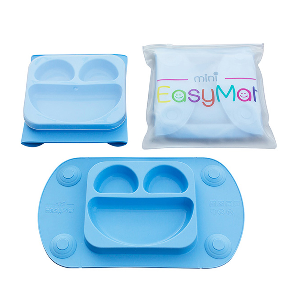 EasyMat® Mini- Πιάτο/Σουπλά σιλικόνης με βεντούζες και καπάκι μπλε