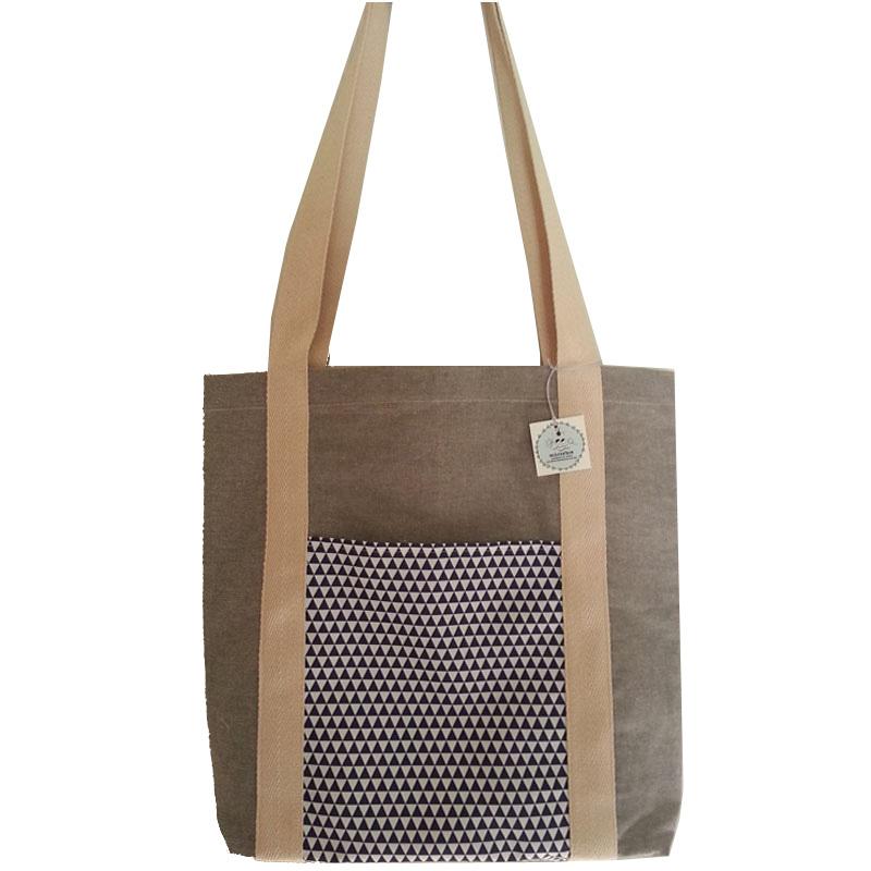 Τσάντα υφασμάτινη tote bag <br/> με τρίγωνα