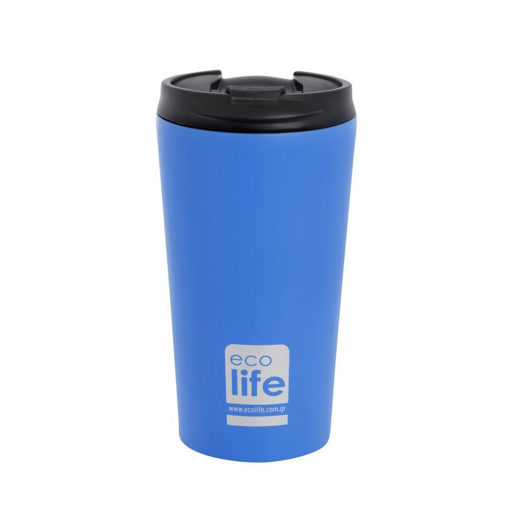 Ecolife Θερμός καφέ sky blue matte 370ml