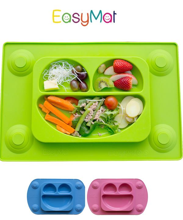 EasyMat®- Πιάτο/Σουπλά σιλικόνης πράσινο με βεντούζες και κουτάλι