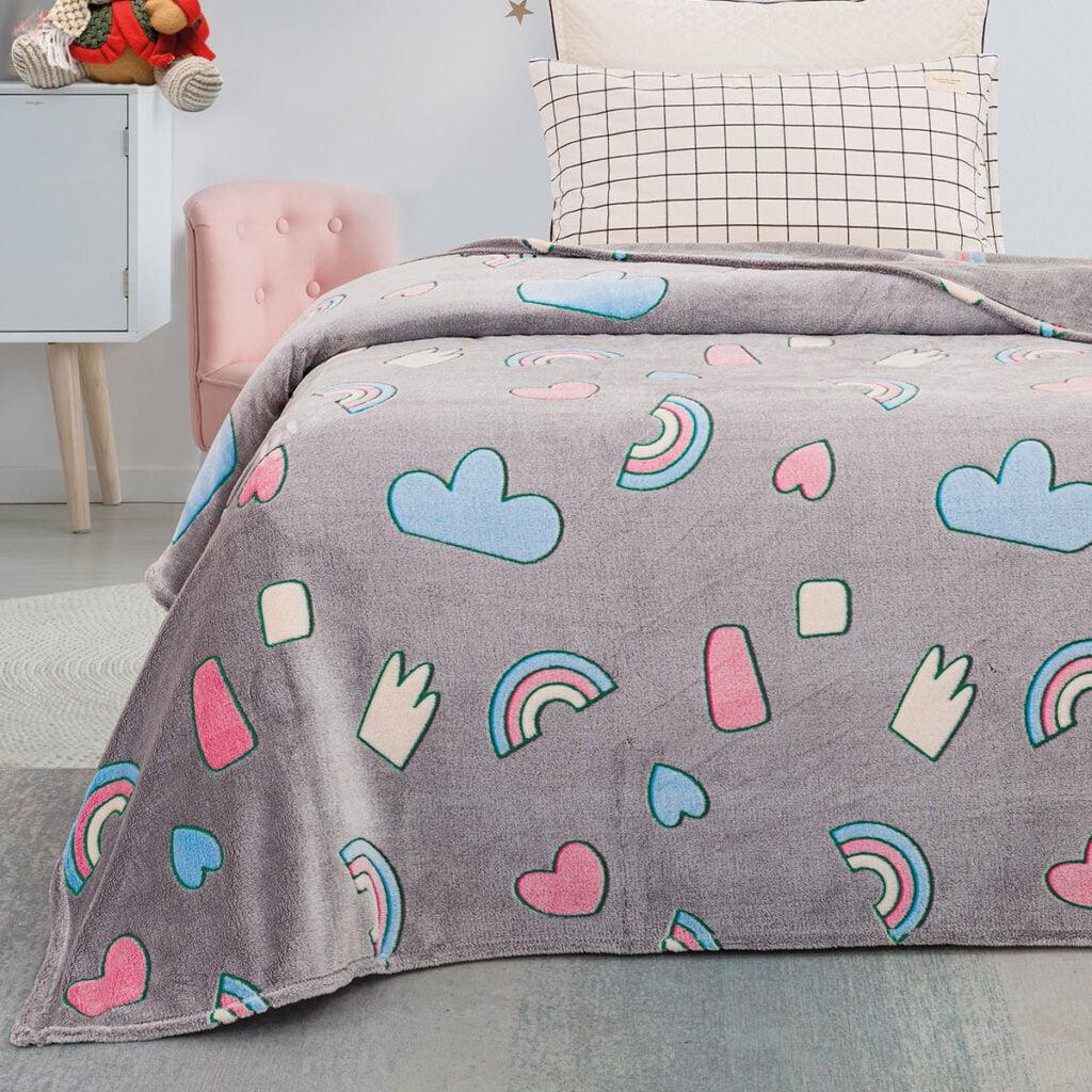 Παιδική κουβέρτα μονή φωσφορίζουσα ουράνιο τόξο 160*220 BEAUTY HOME