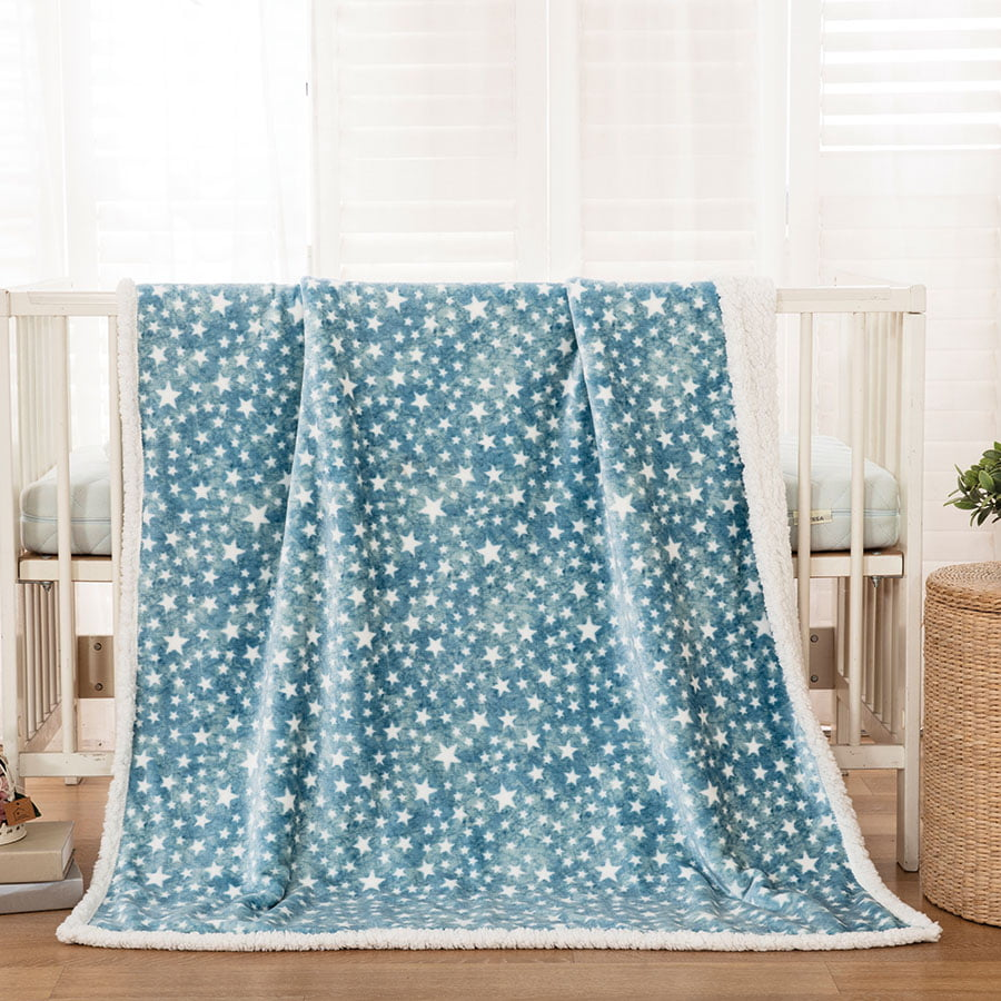 Βρεφική κουβέρτα γαλάζια με αστεράκια 110*140 BEAUTY HOME