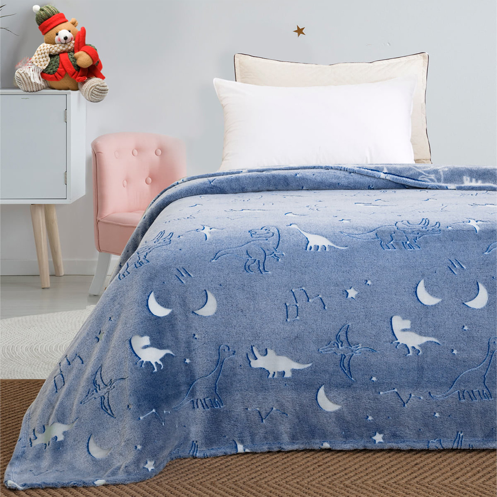 Παιδική κουβέρτα μονή φωσφορίζουσα dinosaurs160*220 BEAUTY HOME