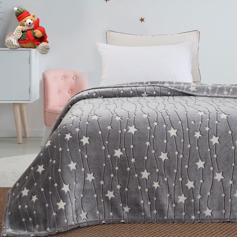 Παιδική κουβέρτα μονή φωσφορίζουσα grey stars 160*220 BEAUTY HOME