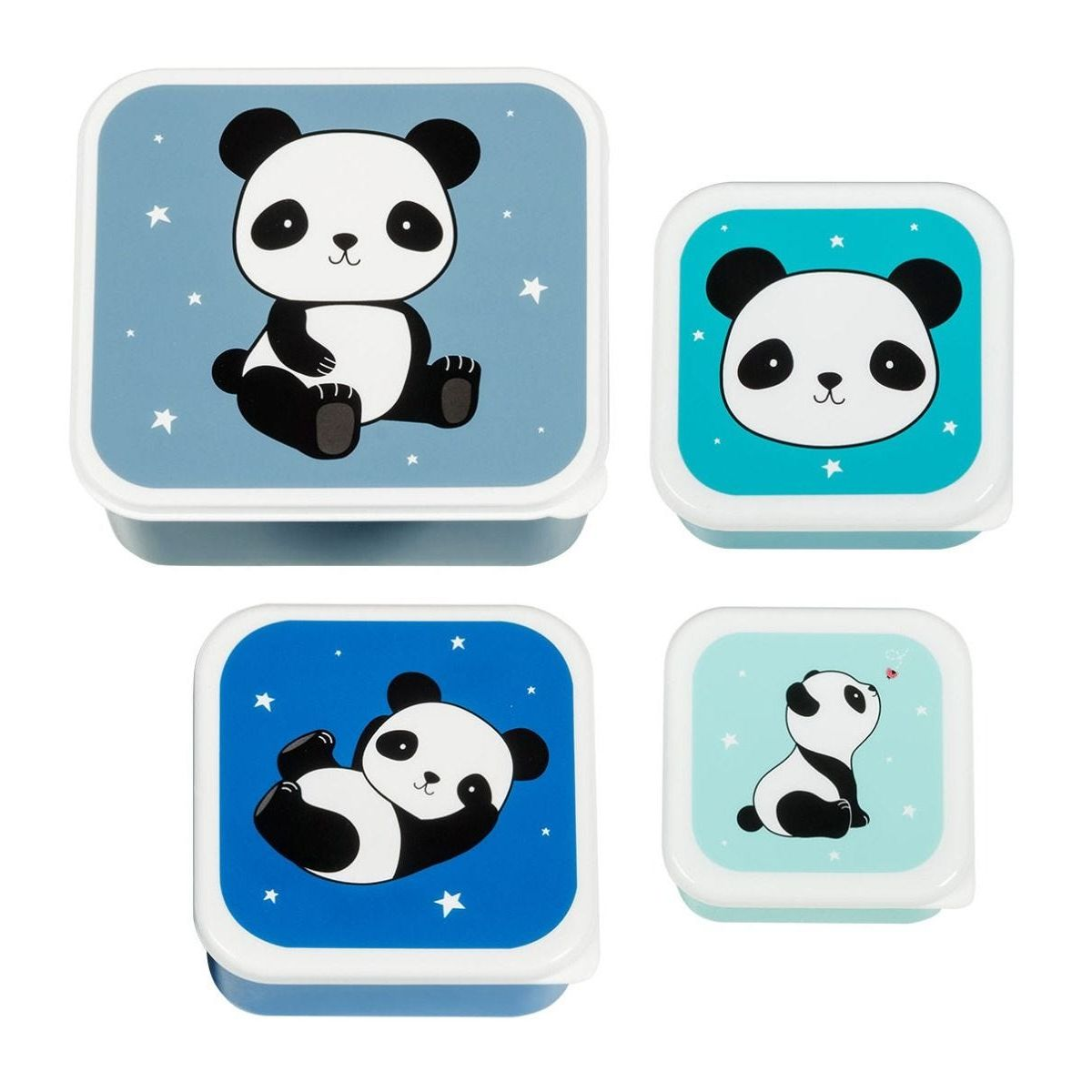 A little lovely company Σετ 4 δοχεία μπωλ φαγητού Panda Lunch & Snack Box
