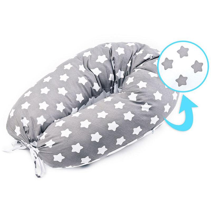 Μαξιλάρι XL εγκυμοσύνης & θηλασμού γκρι με αστεράκια