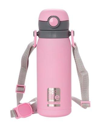 Ανοξείδωτο ροζ παγουράκι θερμός 450ml, με εσωτερικό καλαμάκι & ιμάντα μεταφοράς