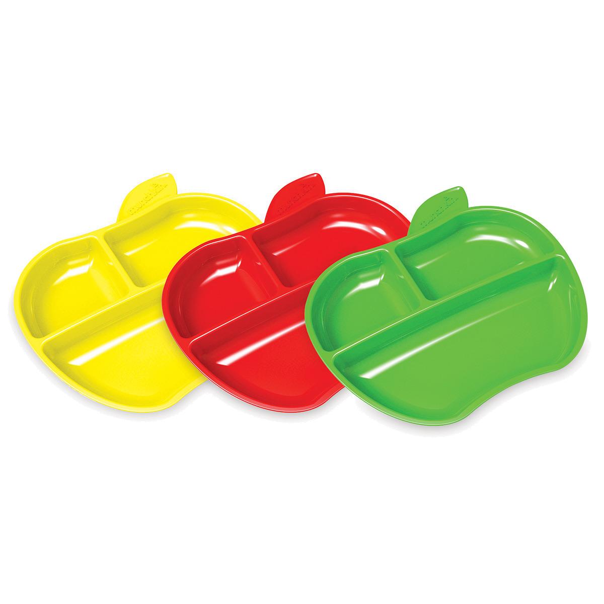 3 Πιάτα βαθιά σχήμα μήλο με χωρίσματα Munchkin