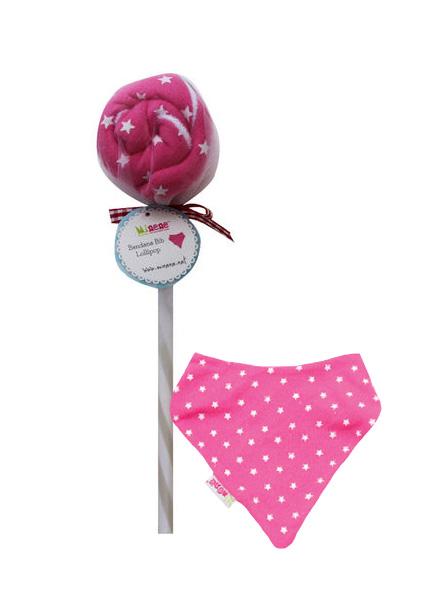 Minene-Lollipops Σαλιάρα-μπαντάνα Φούξια Αστέρια