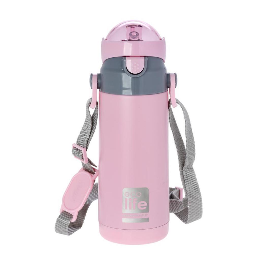 Ανοξείδωτο ροζ  θερμός  400ml <br> ecolife