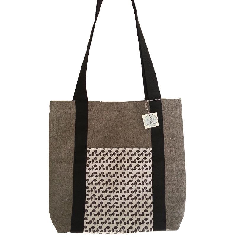 Τσάντα υφασμάτινη tote bag <br/> με φύλλα