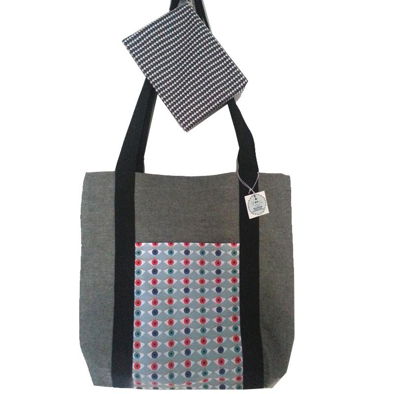 Σετ τσάντα υφασμάτινη tote bag με μαύρα χερούλια και ασορτί τσαντάκι