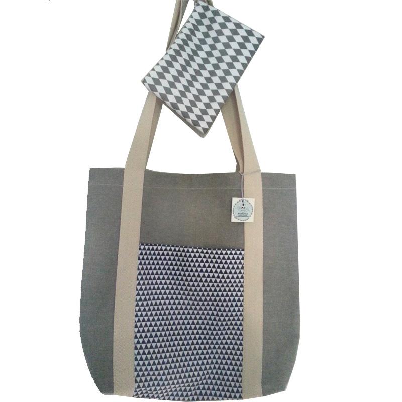 Σετ τσάντα υφασμάτινη tote bag με μπεζ χερούλια και ασορτί τσαντάκι