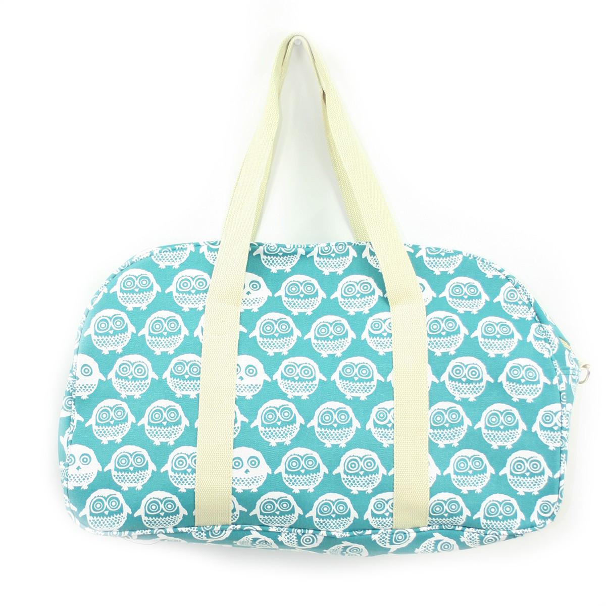 Τσάντα ταξιδιού γαλάζια <br/> με κουκουβάγιες μεγάλη