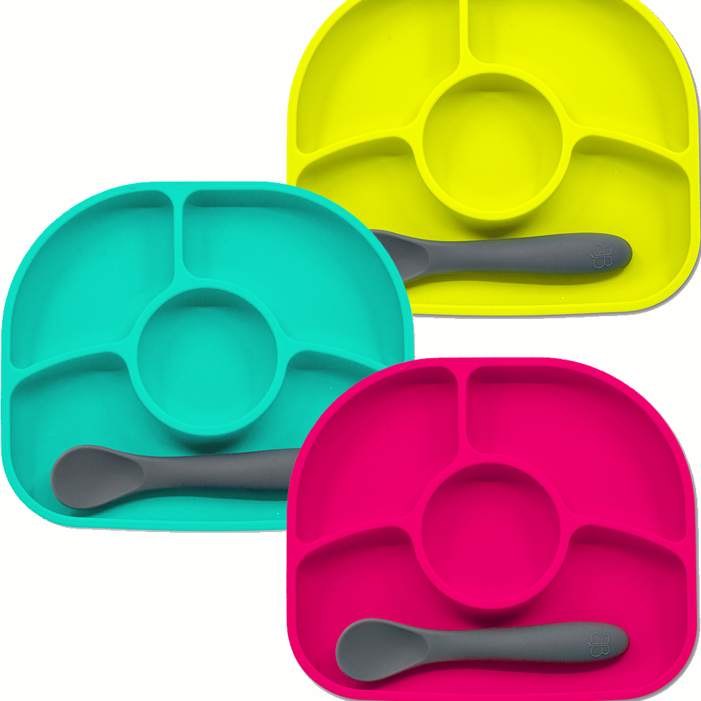 Yümi – Πιάτο σιλικόνης με χωρίσματα τυρκουάζ